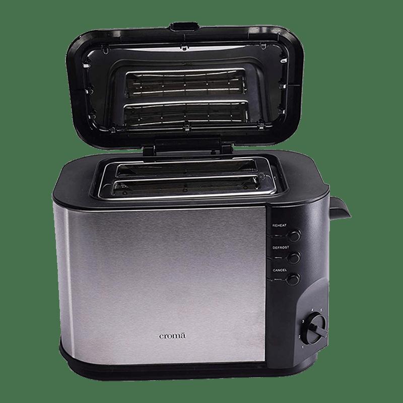 Croma 800 Watt 2 Slice Toaster (CRK4174, Black)