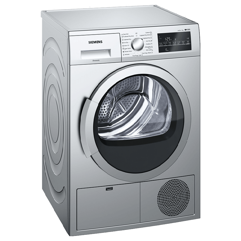 Siemens 8 kg Front Loading Condenser Tumble Dryer (WT46G402IN, Silver)