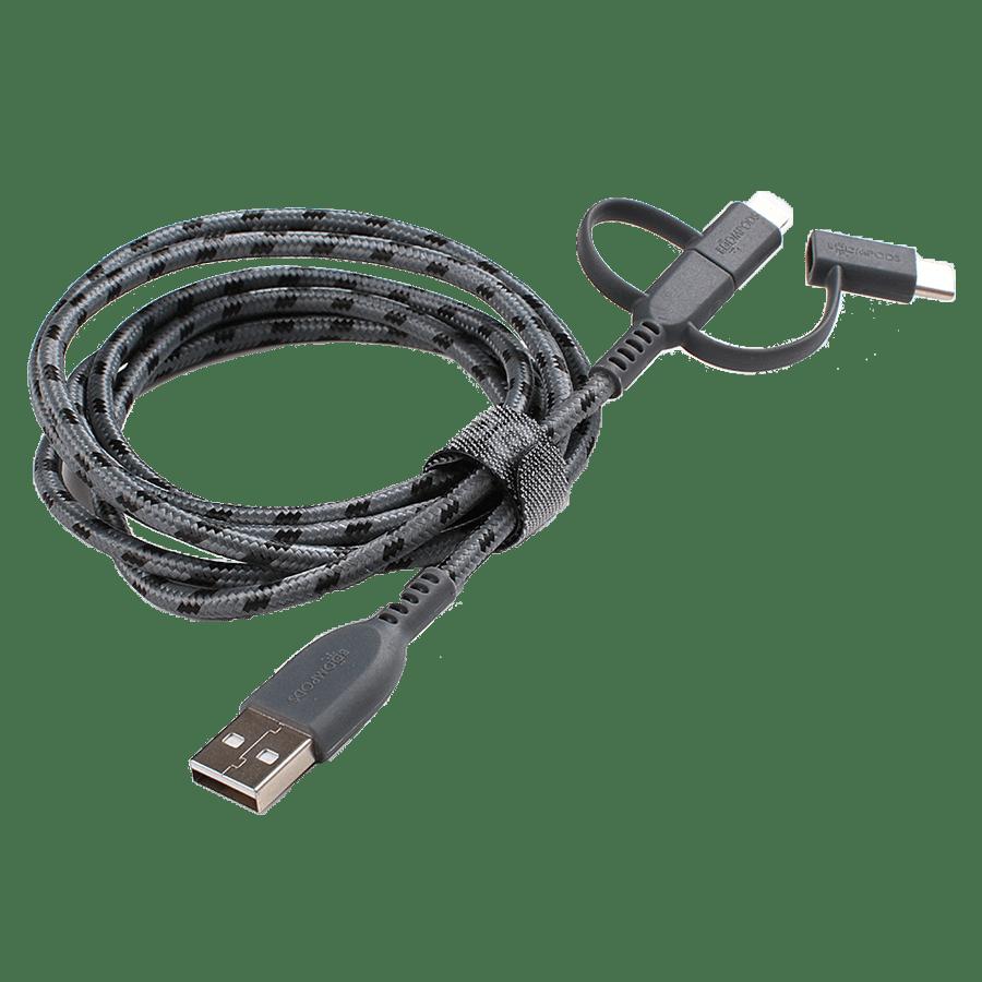 Boompods Trio 150 cm 3-in-1 USB 2.0 (Type-A) to USB (Type-C) + Lightning + Micro USB Cable (BP-TRIO-GRA, Graphite)