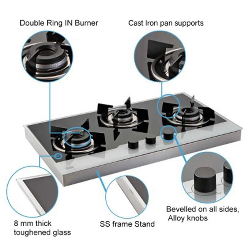 Glen Bh 1073 FINBW 3 Burners Built In Hob (Black/Silver)_6