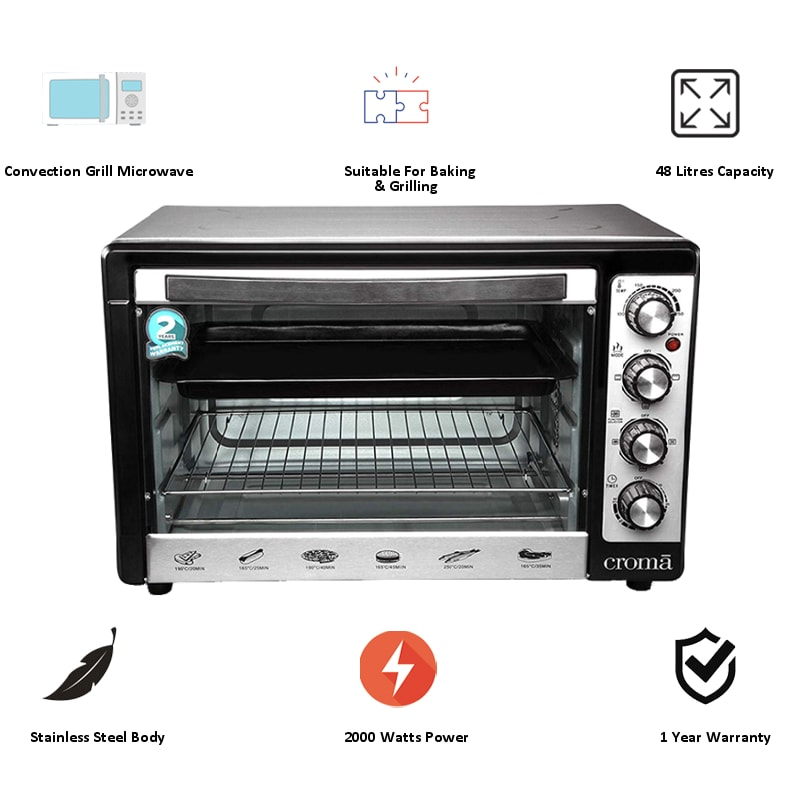 Croma 48 Litres CRAO0063 Oven Toaster Griller (Black)_5