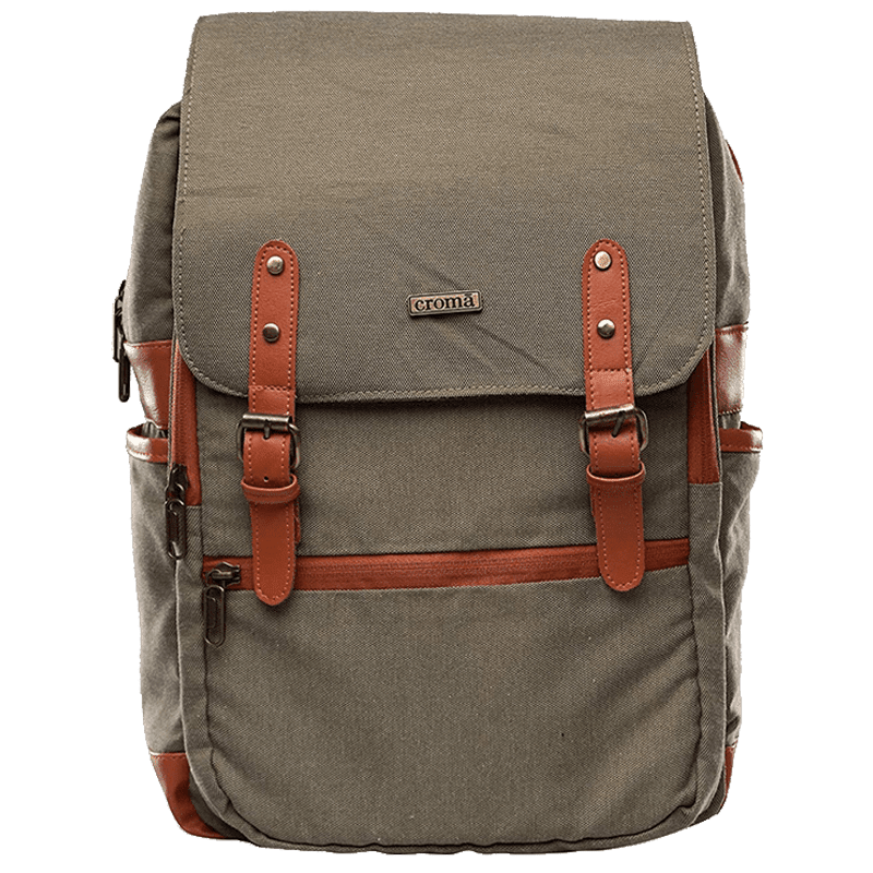 Croma Polyester Laptop Backpack (CRXL5200, Brown)_8