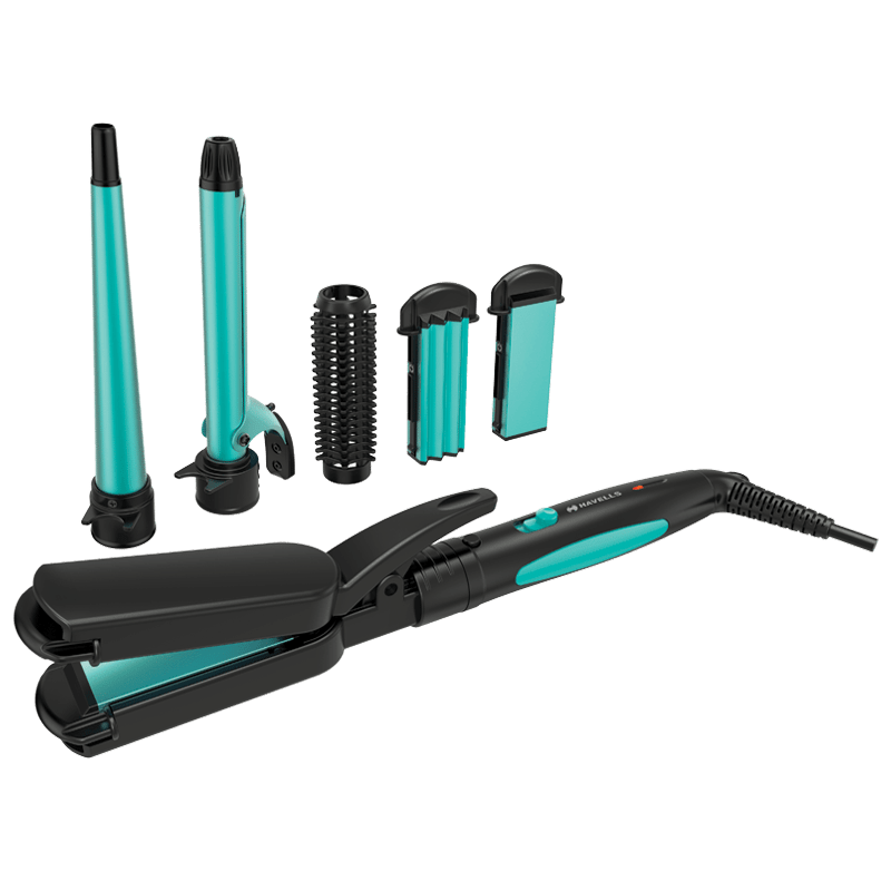 Havells HC4045 5-in-1 Multi-Styling Kit (5 Attachments, Ceramic Plates, Blue/Black)