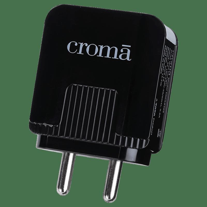 Croma 3 Port Wall Charging Adapter (CRCA2303, Black)