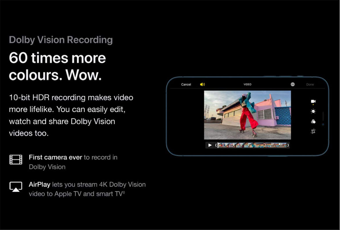 iPhone 12 pro dolby vision recording