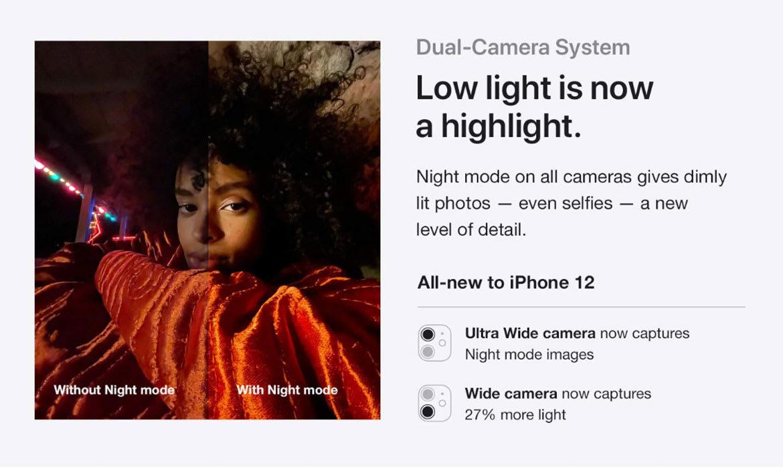 iPhone 12 dual camera system