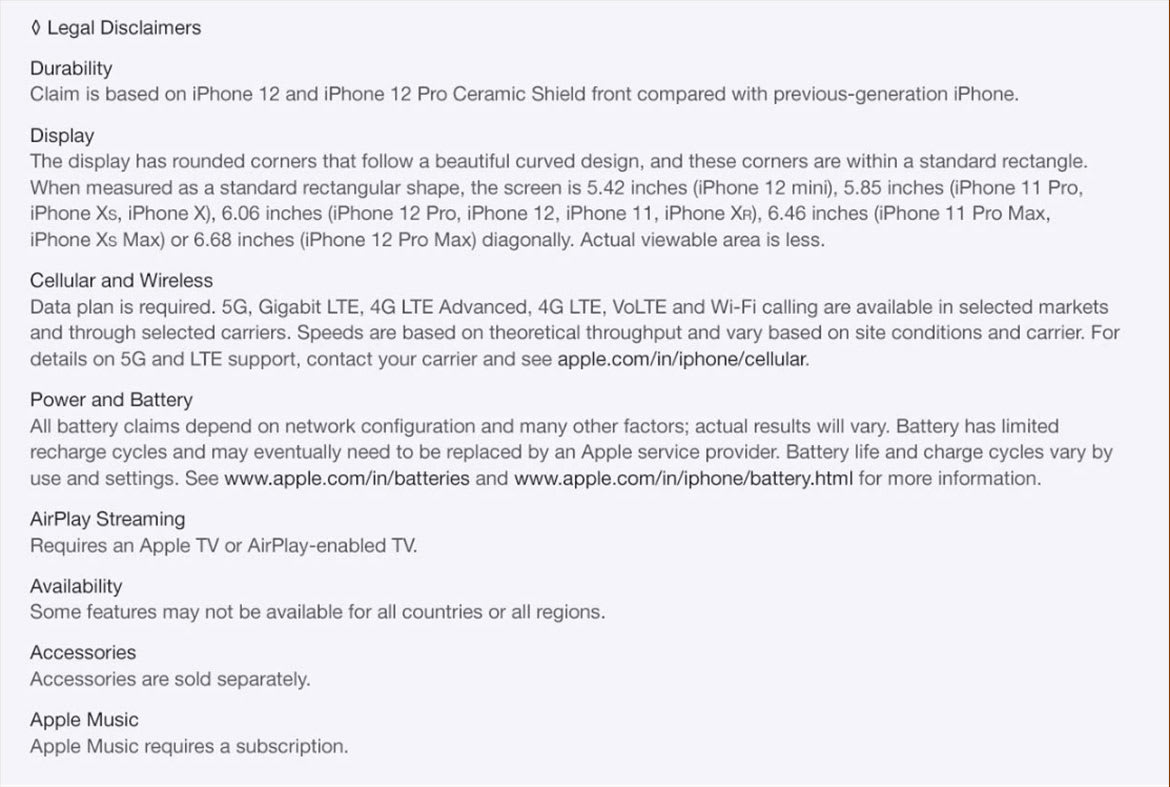 iPhone 12 Pro Disclaimer