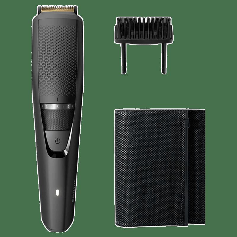 Philips Beardtrimmer Series 3000 Titanium Blades Corded & Cordless Beard Trimmer (60 Min Run Time/1h Charge, 20 Length Settings, BT3215/15, Black)