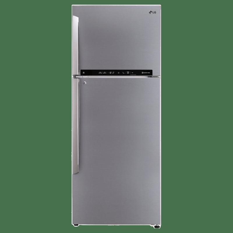 LG 471 Litres 2 Star Frost Free Inverter Double Door Refrigerator (Door Cooling Plus, GL-T502FPZU, Shiny Steel)