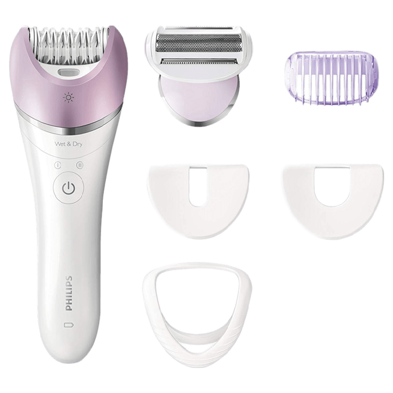 Philips Satinelle Advanced Wet & Dry Cordless Epilator (Face and Body Hair Removal, BRE635/00, White)