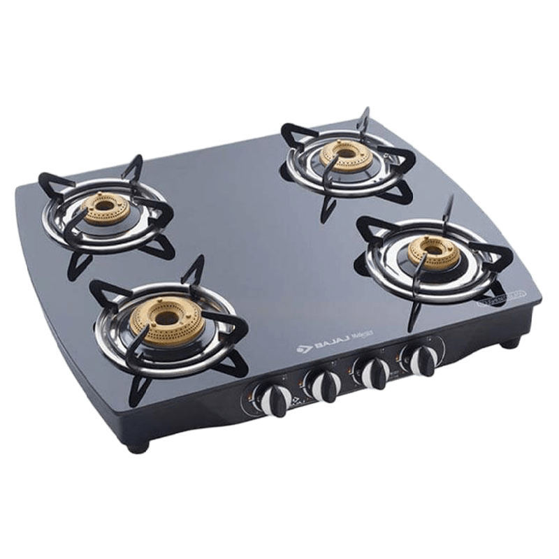 Bajaj 4 Burner Toughened Glass Gas Stove (Brass Burner, CGX10, Black)