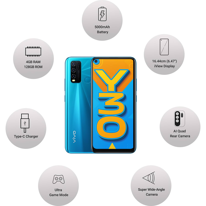 Vivo Y30 (128 GB ROM, 4 GB RAM, Dazzle Blue)_8