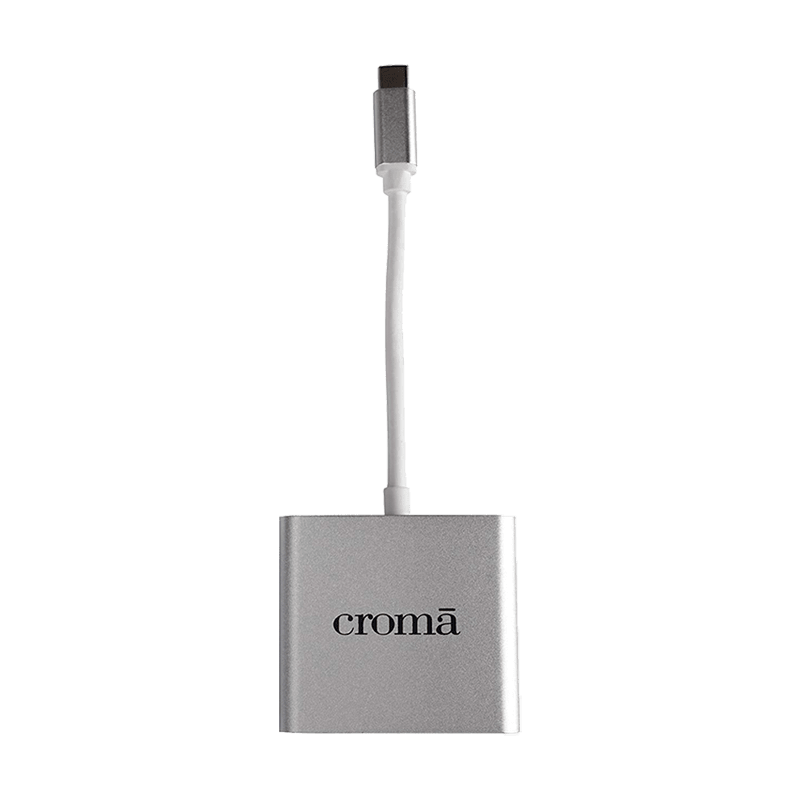 Croma USB 3.0 (Type-C) to HDMI (Type-A)/Lightning/USB 2.0 (Type-A) Cable (CRXN4074, White)