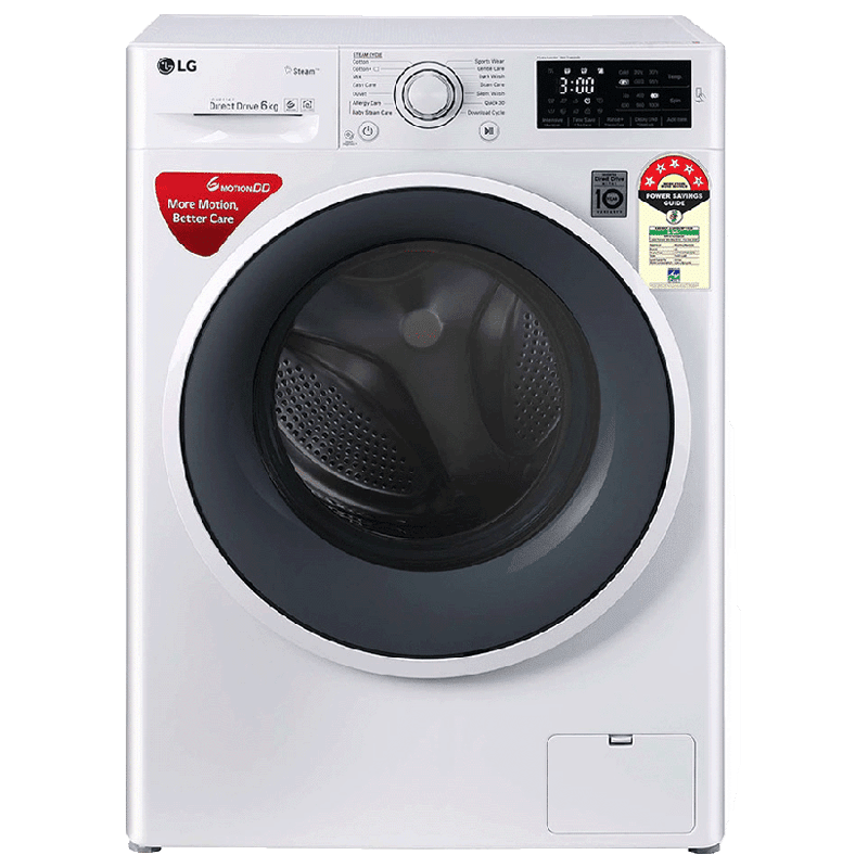 LG 6 Kg 5 Star Fully Automatic Front Loading Washing Machine (FHT1006ZNW.ABWQEIL, Blue White)