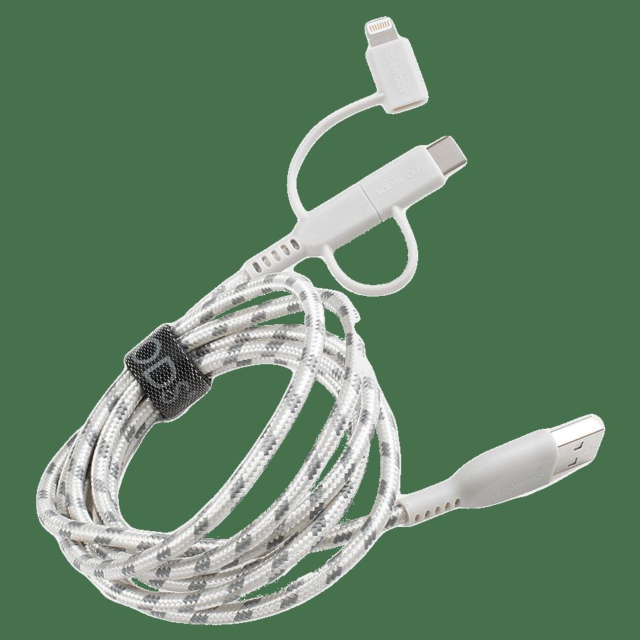 Boompods Trio Armour 3-in-1 150 cm USB 2.0 (Type-A) to USB (Type-C) + Micro USB + Lightning Cable (BP-TRIO-TIT, Titanium)