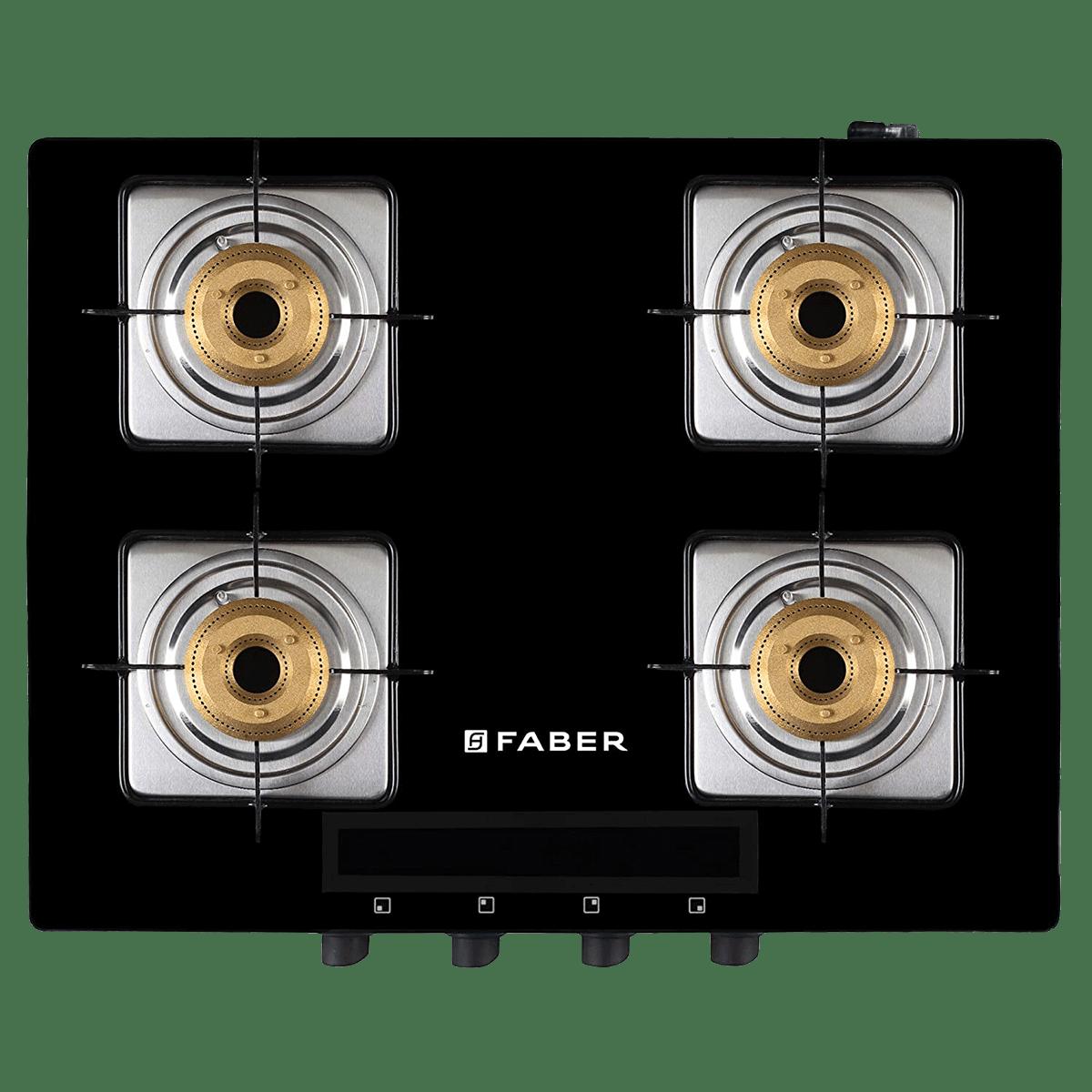 Faber Blaze 4 Burner Tempered Black Glass Gas Stove (HD 4B BK AI, Black)