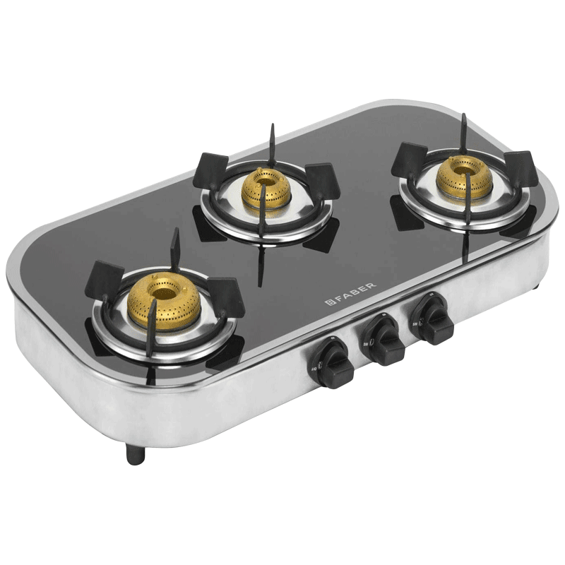 Faber Curvo 3 Burner Black Tempered Glass Gas Stove (Feather Touch Knobs, Mirror 3BB SS, Black)