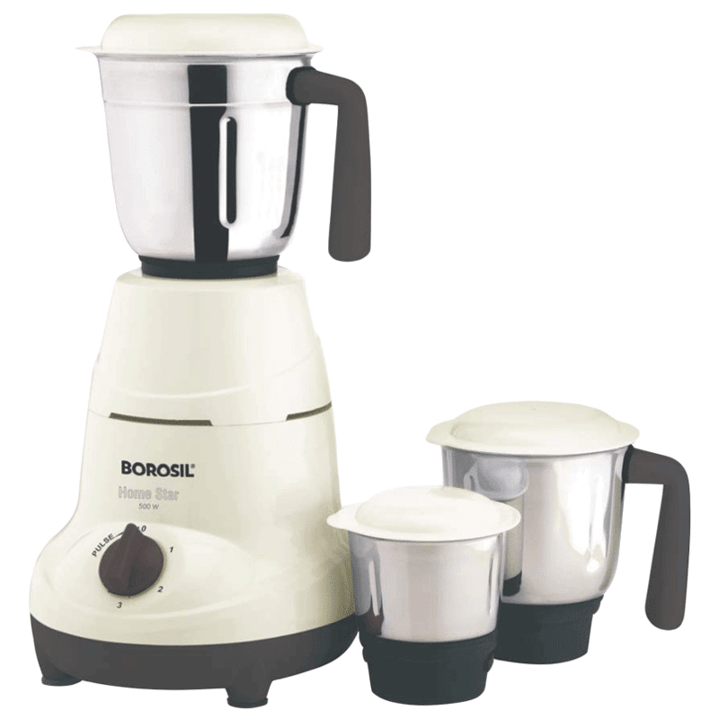 Borosil Home Star 500 Watts 3 Jars Mixer Grinder (Push Locking Mechanism, HAMG500W22, White)