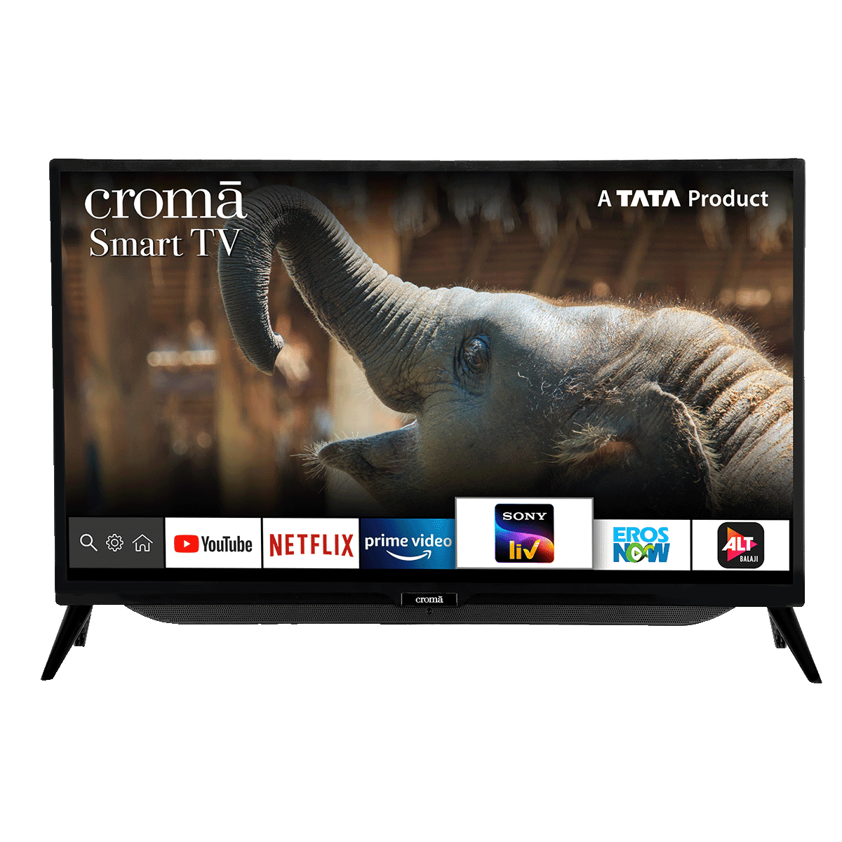 Croma 80cm (32 Inch) HD Ready Smart TV (Dual Box Speakers, CREL7363, Black)
