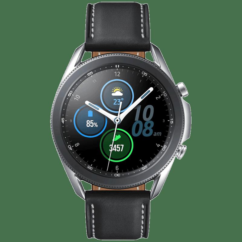 Samsung Galaxy Watch3 Smartwatch (GPS+Bluetooth, 45mm) (Blood Oxygen Monitoring, SM-R840NZSAINS, Mystic Silver/Black, Leather Strap)