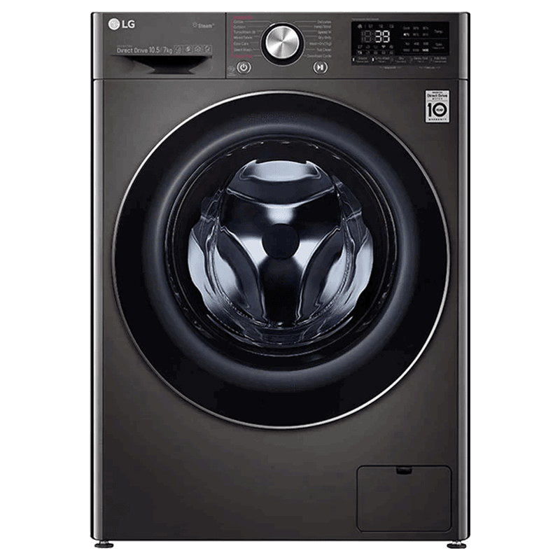 LG 10.5 kg/7 kg Fully Automatic Front Load Washer Dryer Combo (Steam Plus, FHD1057STB.ABLPEIL, Black VCM)