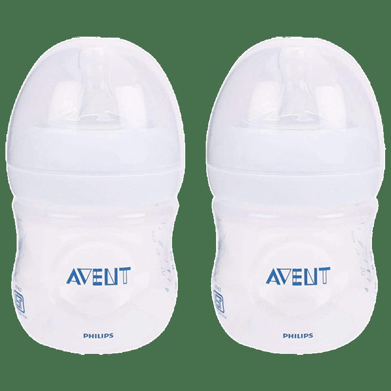 Philips Avent 125 ML 2 Pieces Natural Baby Bottle (SCF030/20, Transparent)