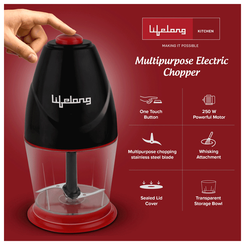 Lifelong 250 Watts Electric Chopper (Suitable for Vegetable, 1 Blade, LLEC01, Black)_3