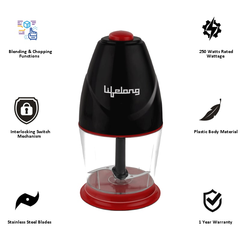 Lifelong 250 Watts Electric Chopper (Suitable for Vegetable, 1 Blade, LLEC01, Black)_4