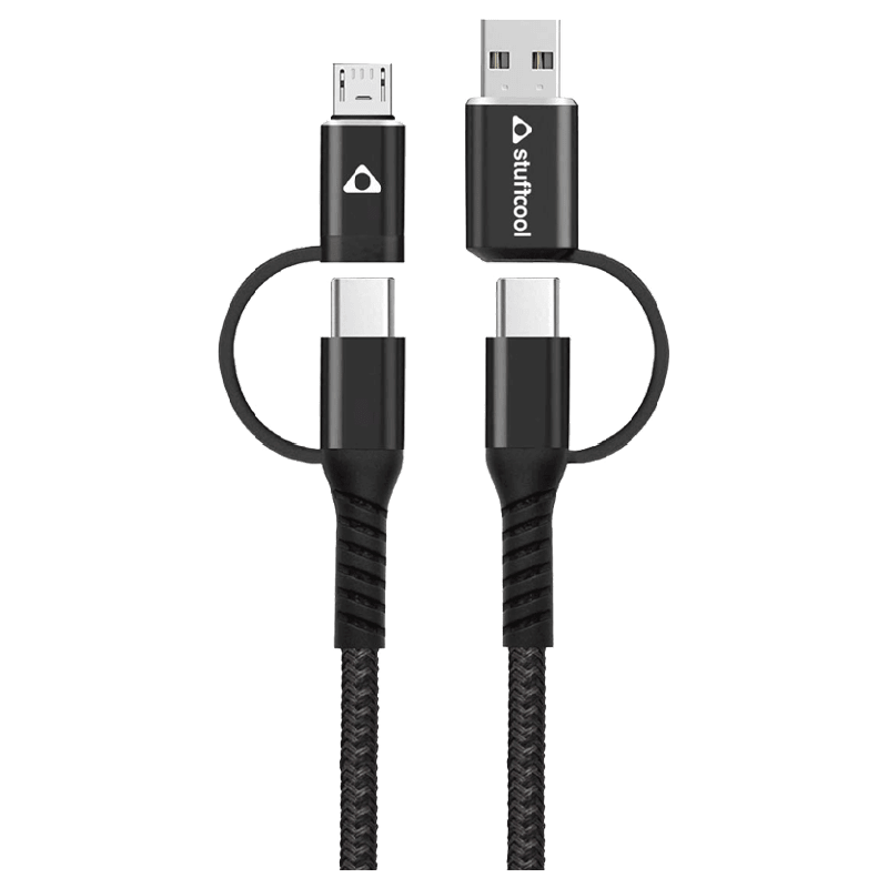Stuffcool 100 cm 4 in 1 USB to Micro, USB to C, Type-C to C and C to Micro USB Cable (Quad, Black)