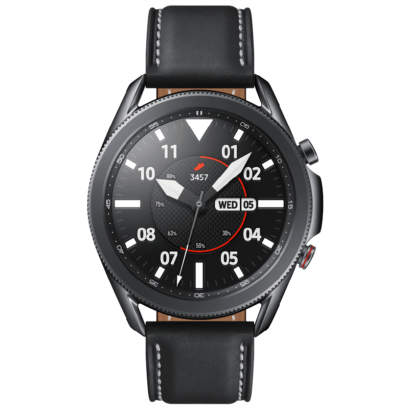 Samsung Galaxy Watch3 Smartwatch (GPS+Cellular, 45mm) (Blood Oxygen Monitoring, SM-R845FZKAINS, Mystic Black, Leather Strap)