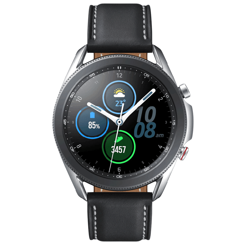 Samsung Galaxy Watch3 Smartwatch (GPS+Cellular, 45mm) (Blood Oxygen Monitoring, SM-R845FZSAINS, Mystic Silver/Black, Leather Strap)