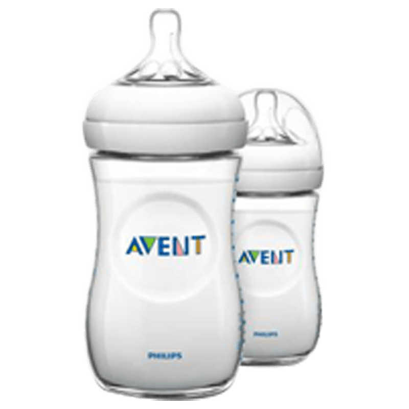 Philips Avent 260 ML 2 Pieces Natural Baby Bottle (SCF033/20, Transparent)