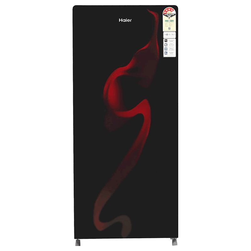 Haier 195 Litres 4 Star Direct Cool Single Door Refrigerator (Stabilizer Free Operation, HRD-1954CSG-E, Black Spiral Glass)