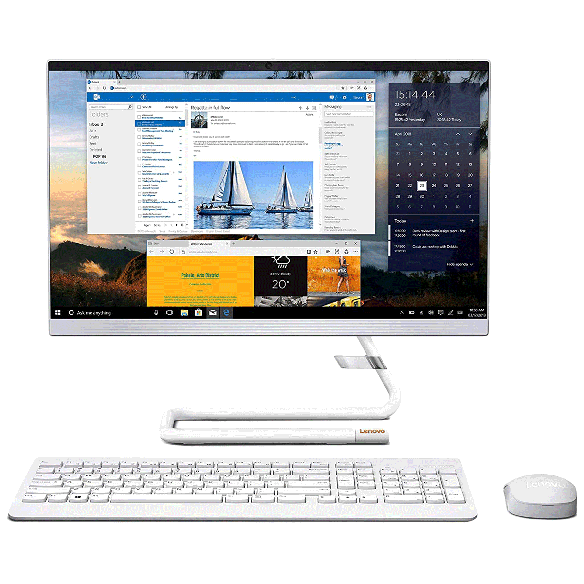 Lenovo IdeaCentre AIO 3 (F0EX0082IN) Ryzen 3 Windows 10 Home All-in-One Desktop (8GB RAM, 1TB HDD, AMD Radeon Graphics, MS Office, 54.61cm, Foggy White)