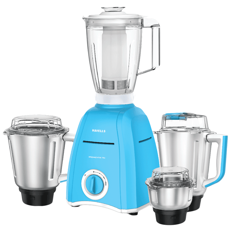 Havells Momenta 750 Watt 4 Jars Mixer Grinder (Twist Lock Mechanism, GHFMGBZB075, Blue)