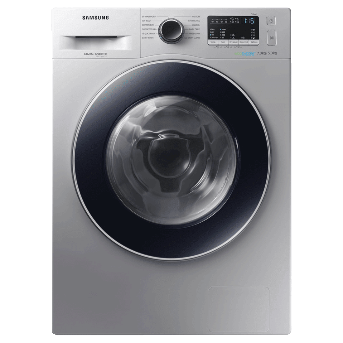 Samsung 7 kg/5 kg Fully Automatic Front Load Washer Dryer Combo (Hygiene Steam, WD70M4443JS/TL, Silver)
