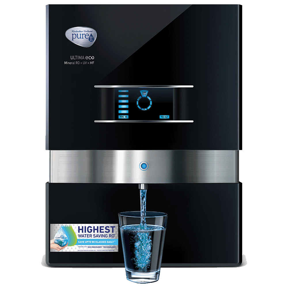 Pureit Ultima Eco Mineral RO+UV+MF Electrical Water Purifier (7 Stage Filtration, WDRJ400, Black)