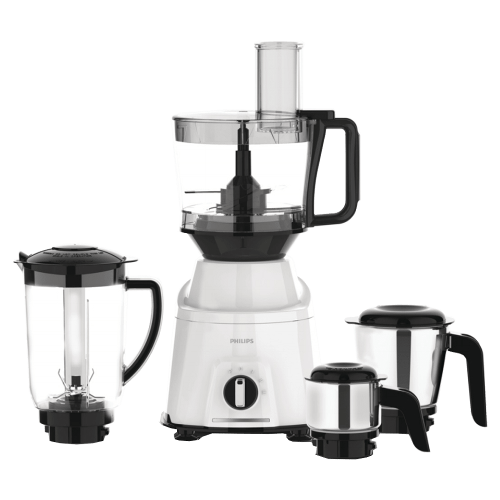 Philips Viva Collection 750 Watts 4 Jars Mixer Grinder (Turbo Power Motor, HL7763/00, White/Black)