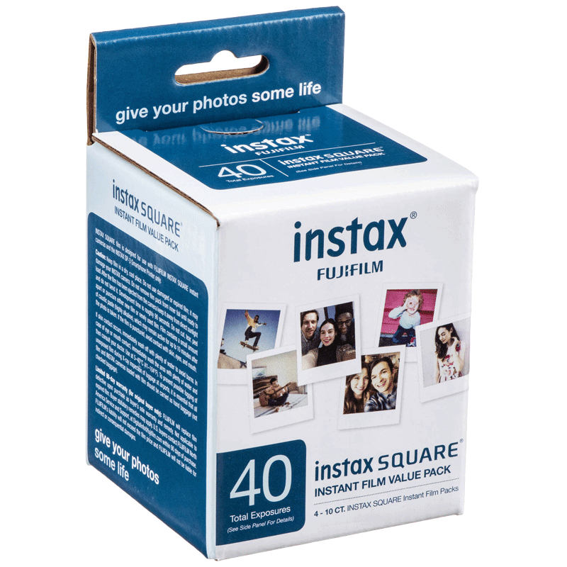 Fujifilm Instax Square Film Sheet (86 x 72 mm) Gloss Paper (40 Shots, 450gsm, IC0088, White)