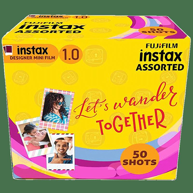 Fujifilm Instax Mini Film Sheet (54 x 86 mm) Gloss Paper (50 Shots, 450gsm, IC0101, Designer Frame, Multicolour)
