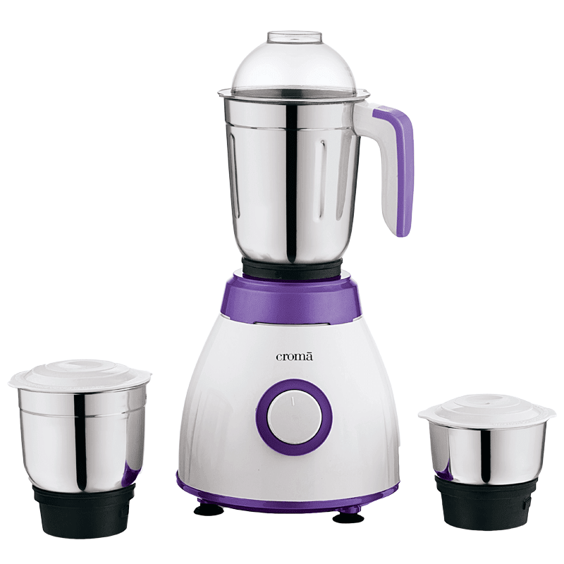 Croma 500 Watts 3 Jars Mixer Grinder (Rust Resistant, CRAK4184, White and Purple)