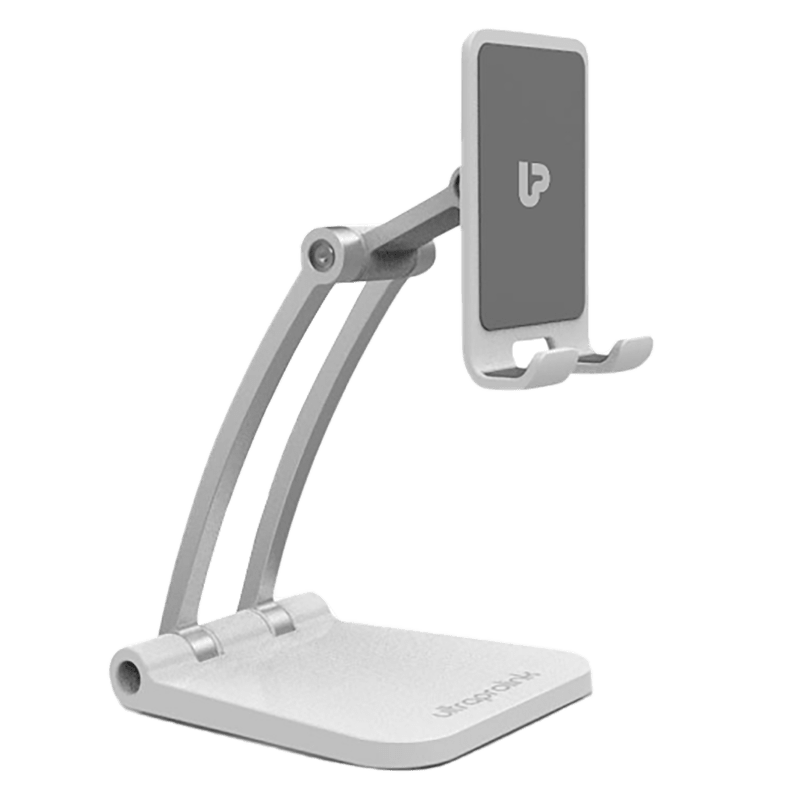 UltraProlink Table Top Stand Universal Phone Holder for Tablets and Smartphones (Multi view Angle, UM1030, White)