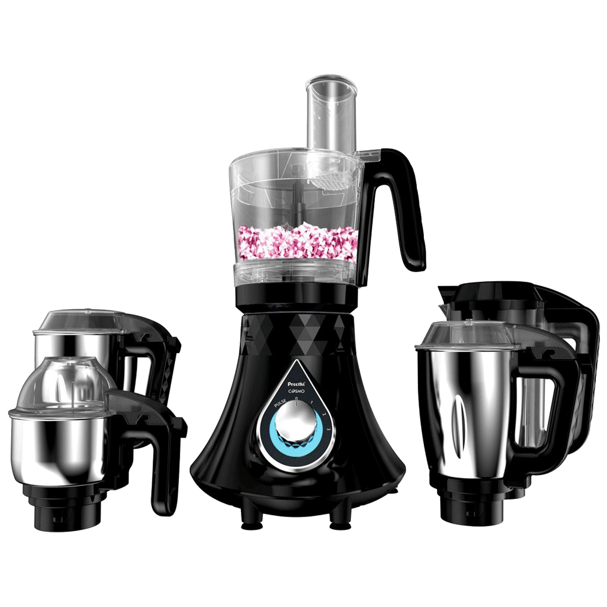 Preethi Zodiac Cosmo 750 Watts 5 Jars Juicer Mixer Grinder (Secure Lock System, MG236, Black)