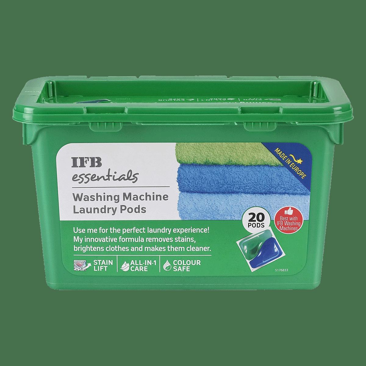 IFB Essentials Liquid Detergent For Top Load/Front Load Washing Machines (20 pods (490ml), Washing Machine La, Green)