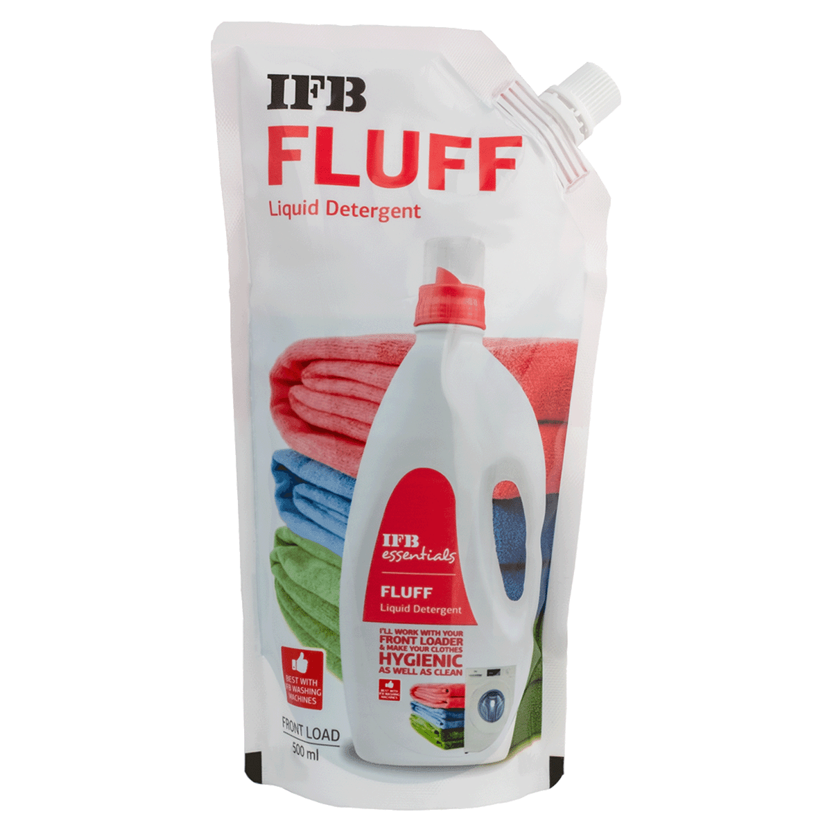 IFB Essentials Fluff Liquid Detergent Refill Pack for Front Load Washing Machines (500ml, Fluff Refill pack, White)