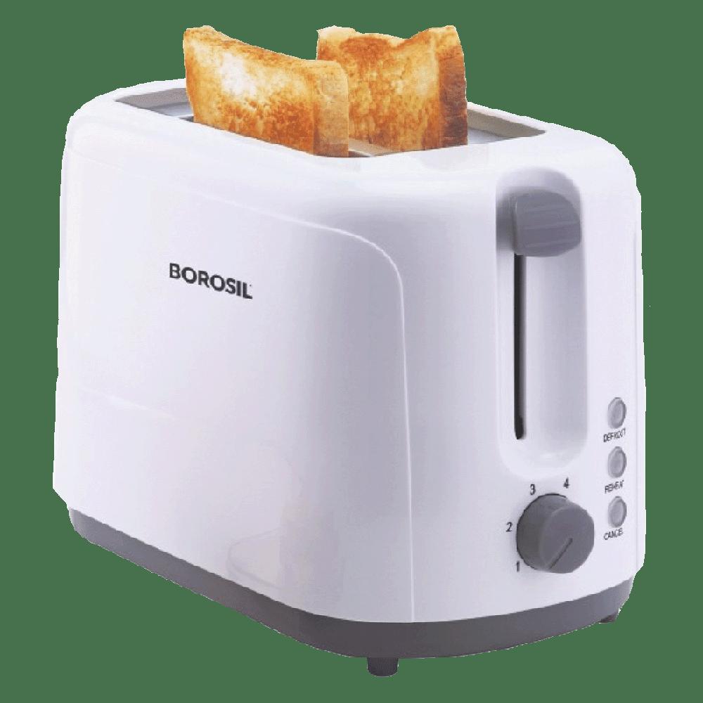 Borosil Krispy 750 Watt 2 Slice Automatic Pop-up Toaster (Anti-skid Feet, BT0750WPW11, White)