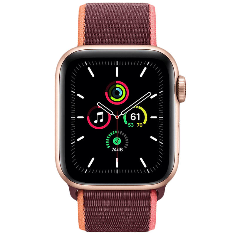 Apple Watch SE Smartwatch (GPS+Cellular, 44mm) (Heart Rate Monitoring, MYEY2HN/A, Gold/Plum, Sport Loop)
