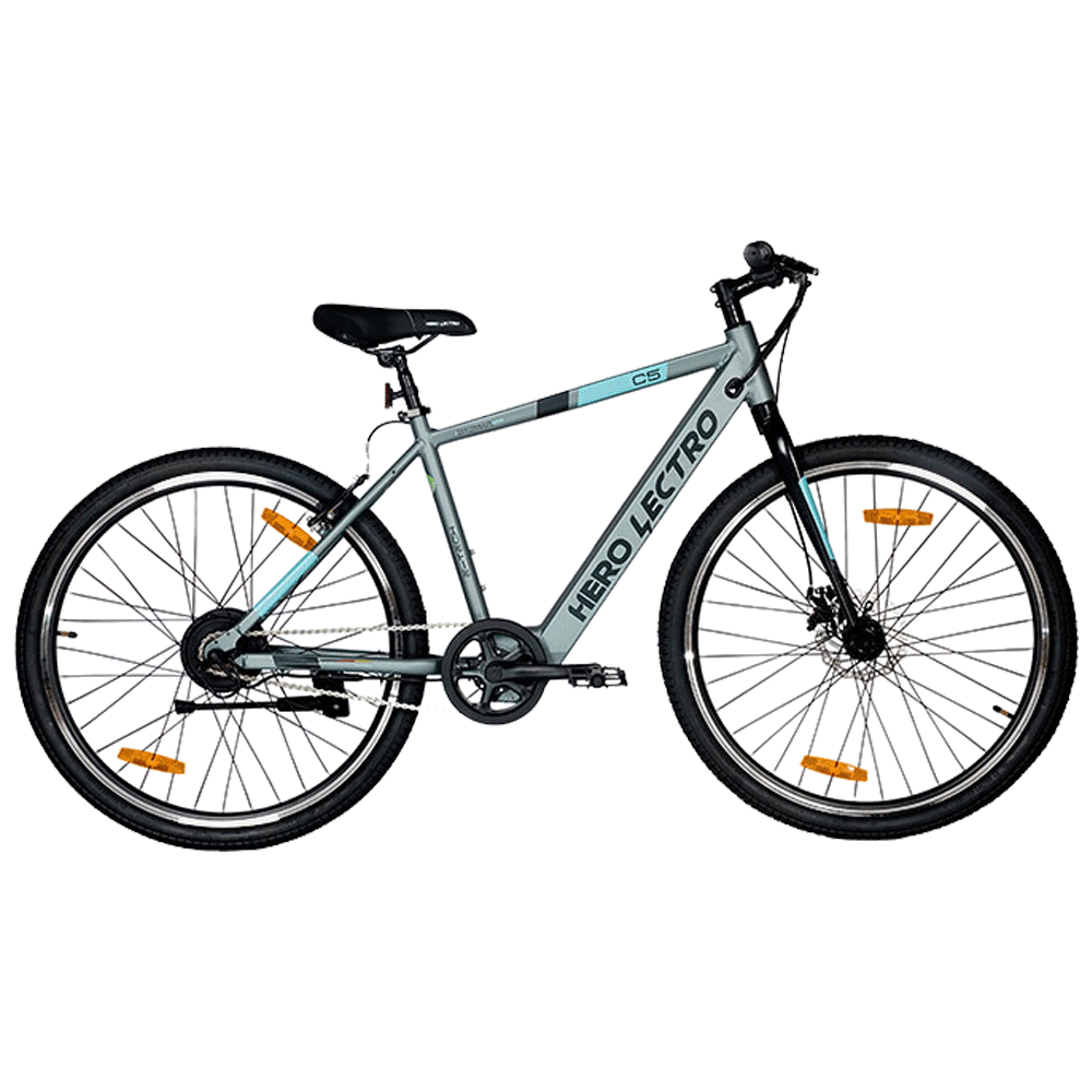 """Hero Lectro C5 SS Electric Bicycle (City Commute, 27.5"""" Alloy Rims, DIY Assembly, SHLE27GYBK05HM, Grey)"""