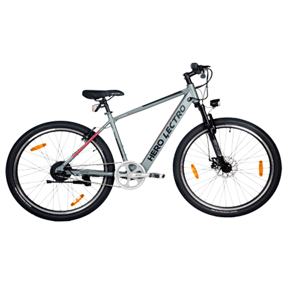 """Hero Lectro C5i SS Electric Bicycle (Daily Commute, 27.5"""" Alloy Rims, DIY Assembly, SHLE27BLBK06HM, Grey)"""