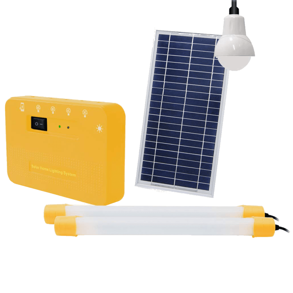 Agni Solar Home Lighting Kit 5 8 Watts Solar LED Bulb & Tube Light (Poly Crystalline Solar Panel, AG-501, Yellow)